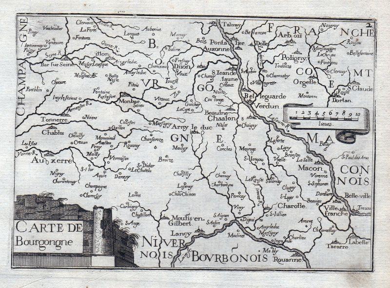 1630 Burgund Bourgogne Authun France gravure estampe Kupferstich Tassin