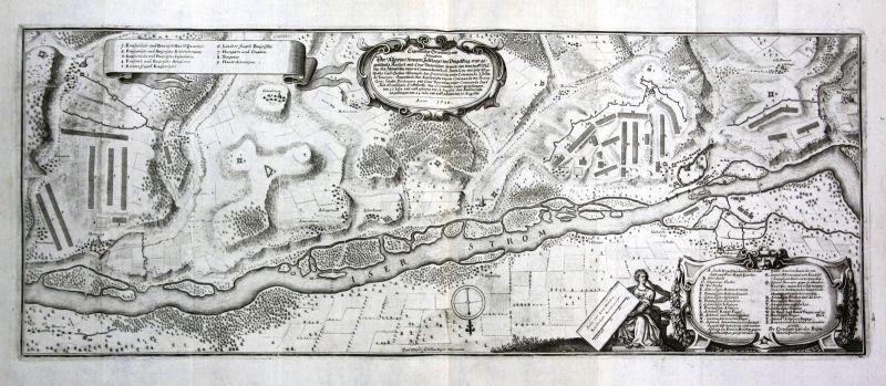 1650 Dingolfing Isar Schlacht Lager Ansicht Kupferstich antique print Merian