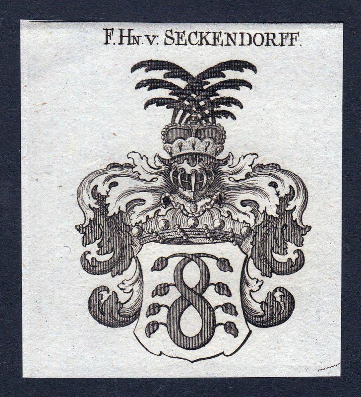 Seckendorff Seckendorf Franken Wappen Adel coat of arms Kupferstich engraving
