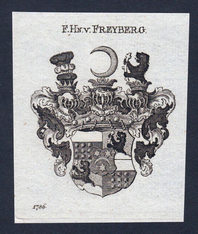 1820 Freyberg Schwaben Wappen Adel coat of arms Heraldik Kupferstich engraving