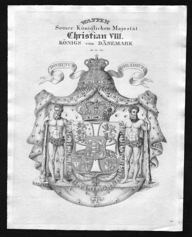 1820 - Dänemark Denmark Wappen Adel coat of arms heraldry Heraldik Kupferstich