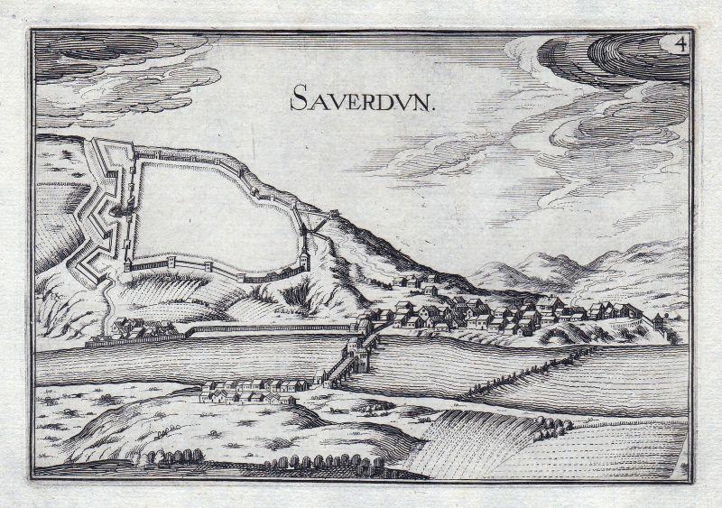 1630 Saverdun Ariege France gravure estampe Kupferstich Tassin