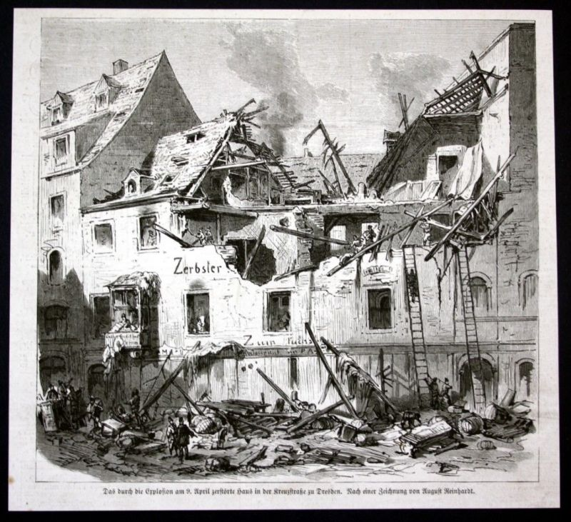 1877 Dresden Explosion Haus house Holzstich antique print