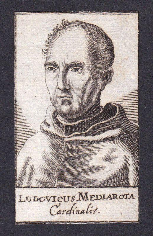 17. Jh. Ludwig Mezzarota cardinal Kardinal Bologna Italien Portrait Kupferstich