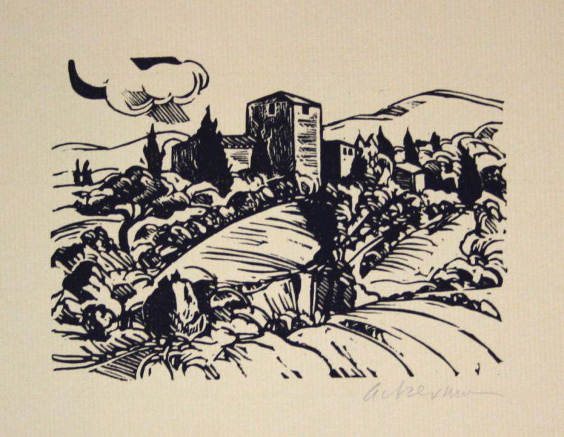 1984 Helmut Ackermann Bei Certaldo Italien Italia Linolschnitt signiert Grafik