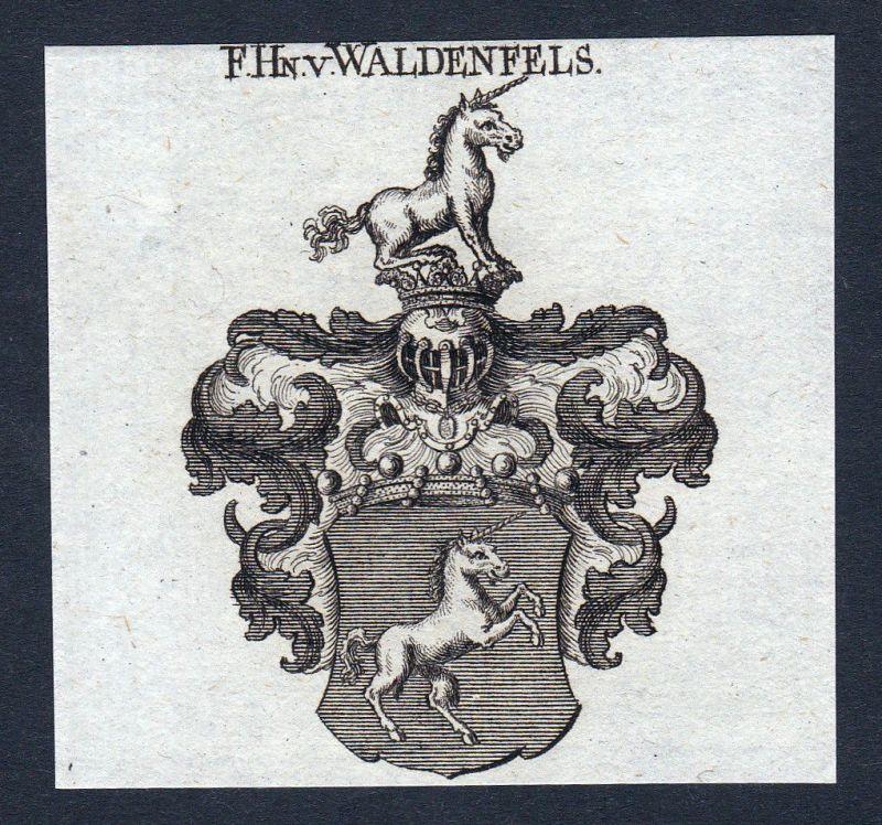 1820 Waldenfels Franken Wappen Adel coat of arms Heraldik Kupferstich engraving