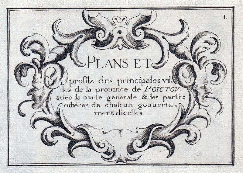 1630 Poitou Nouvelle-Aquitaine Ornament titel title Atlas France estampe Tassin