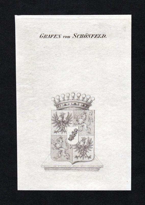 Ca. 1820 Schönfeld Schönfeldt Wappen Adel coat of arms Kupferstich antique print