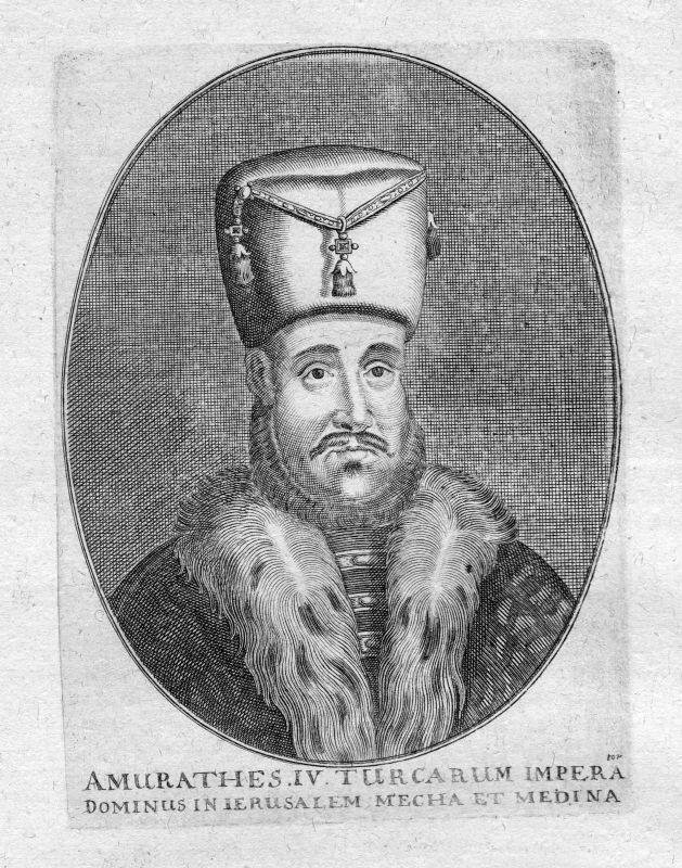 Ca. 1665 Murad IV. Sultan Turkey Osman Empire Portrait Kupferstich antique print