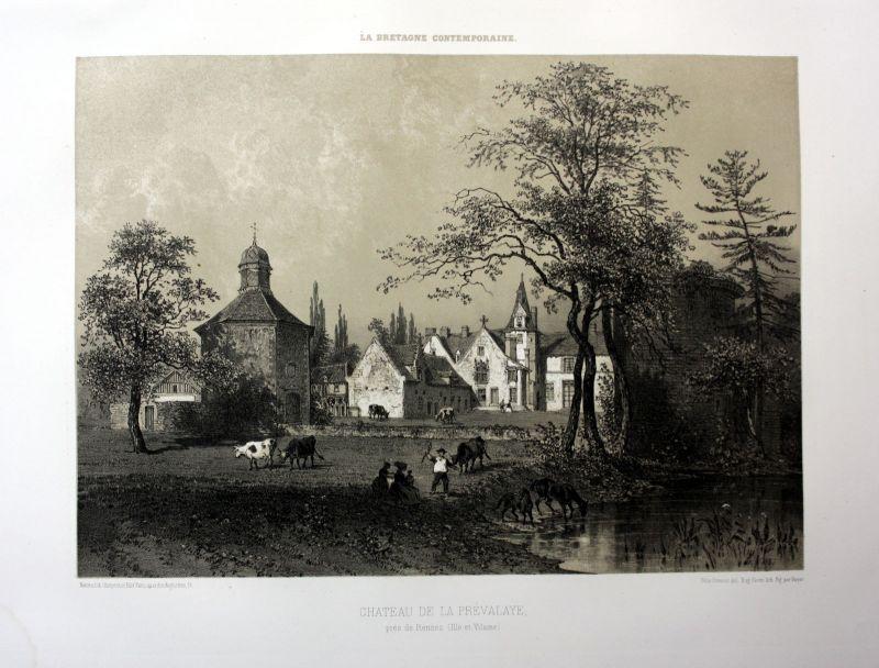 Ca. 1870 Chateau de la Prevalaye Rennes Bretagne France estampe Lithographie