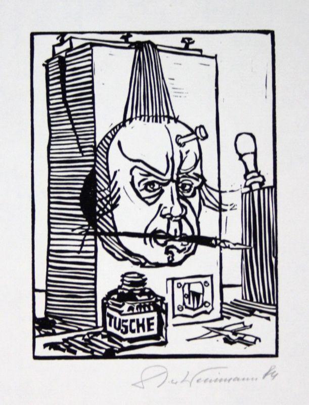 1984 Dieter Weinmann Selbstportrait Portrait Linolschnitt signiert Grafik