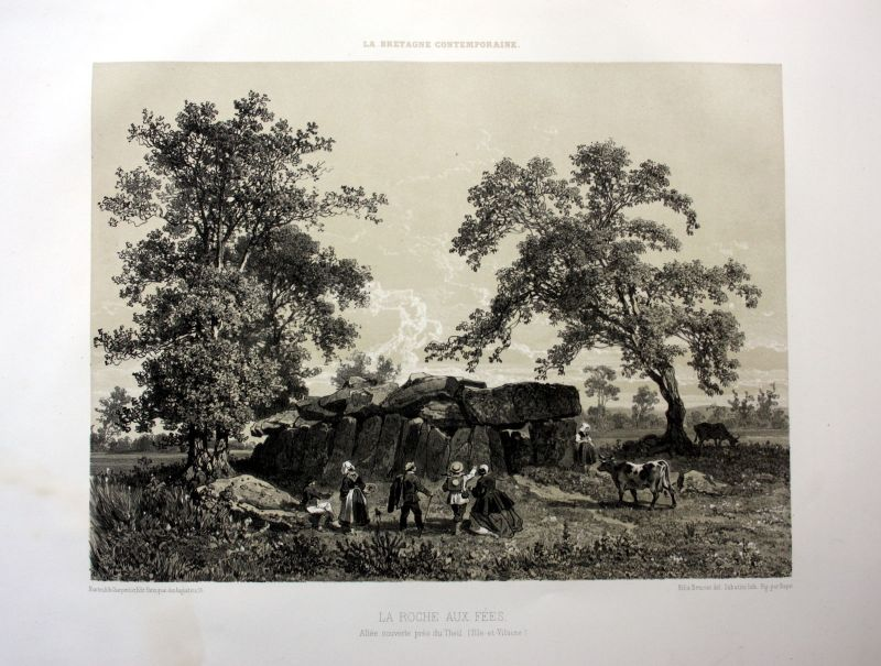 Ca. 1870 La Roche-aux-Fees Esse Bretagne France estampe Lithographie lithograph