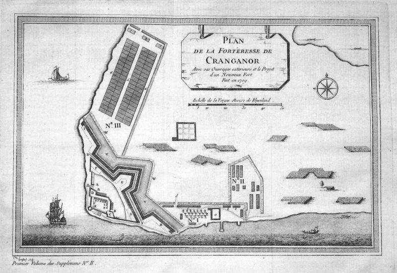 Kottapuram Kodungallur Fort Cranganore Indien India map plan Kupferstich Bellin
