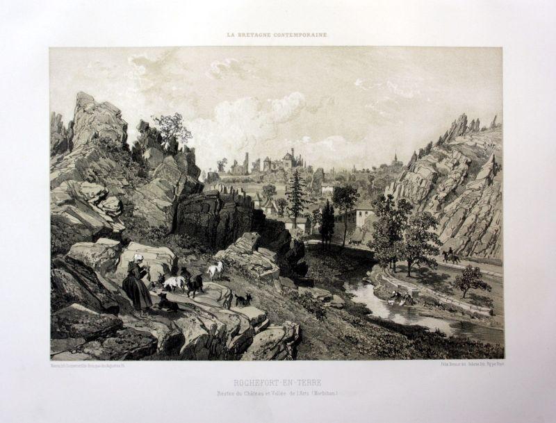 Ca. 1870 Rochefort-en-Terre vue Bretagne France estampe Lithographie lithograph
