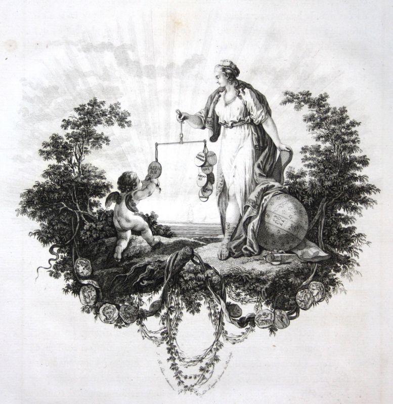 Ca. 1820 angel Engel coins Münzen Waage balance Kupferstich antique print Hilair 0