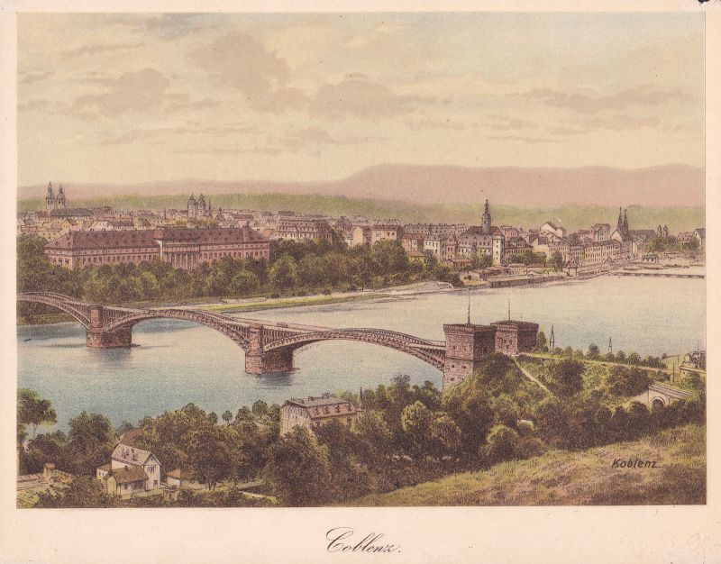 Ca 1890 Koblenz Gülser Eisenbahnbrücke Ansicht Farblithographie Litho lithograph