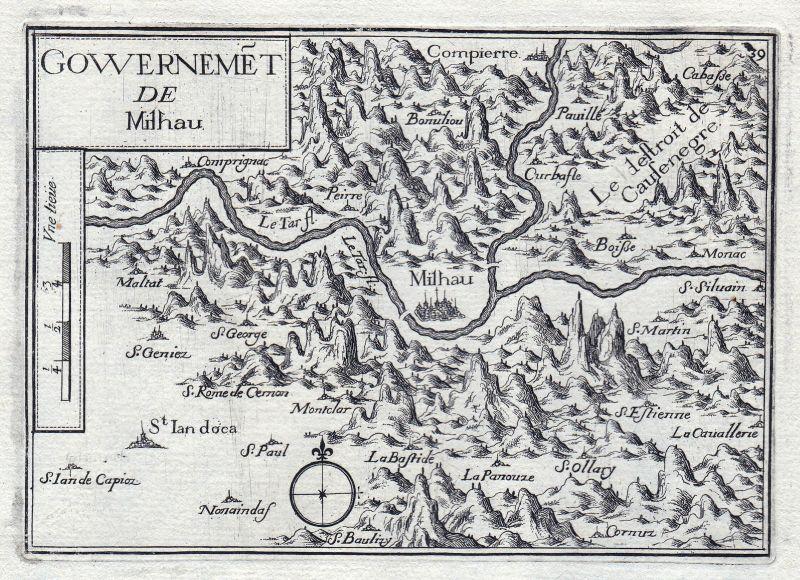 1630 Millau Midi-Pyrenees Aveyron France gravure estampe Kupferstich Tassin