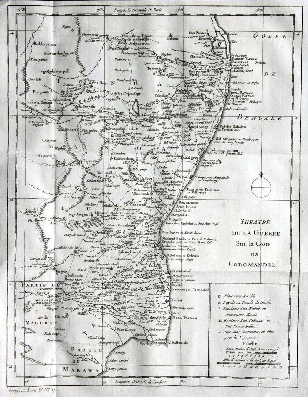 Ca. 1750 India Coromandel Coast Karte map Kupferstich antique print Bellin