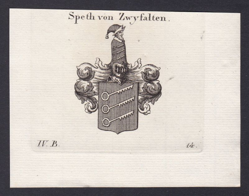 1820 Dietrich Spät Speth Schwaben Wappen Adel coat of arms Heraldik Kupferstich