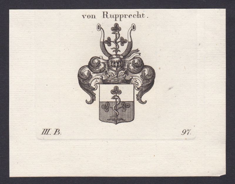 1820 Rupprecht Bayern Wappen Adel coat of arms heraldry Heraldik Kupferstich