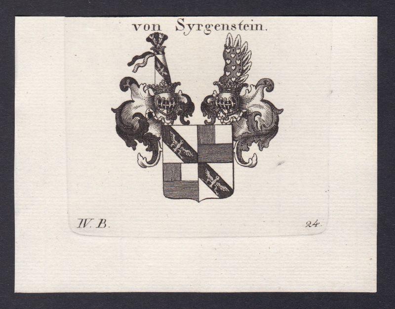1820 Syrgenstein Schwaben Bayern Wappen Adel coat of arms Kupferstich
