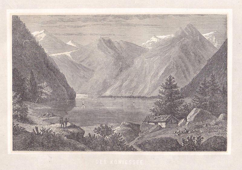 Ca. 1870 Königssee Bayern Ansicht view Holzstich antique print