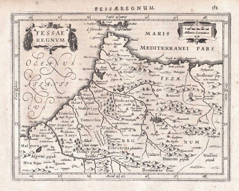 Marokko Morocco Tanger Tangier Fès Fez Afrika Africa map Karte Gerard Mercator