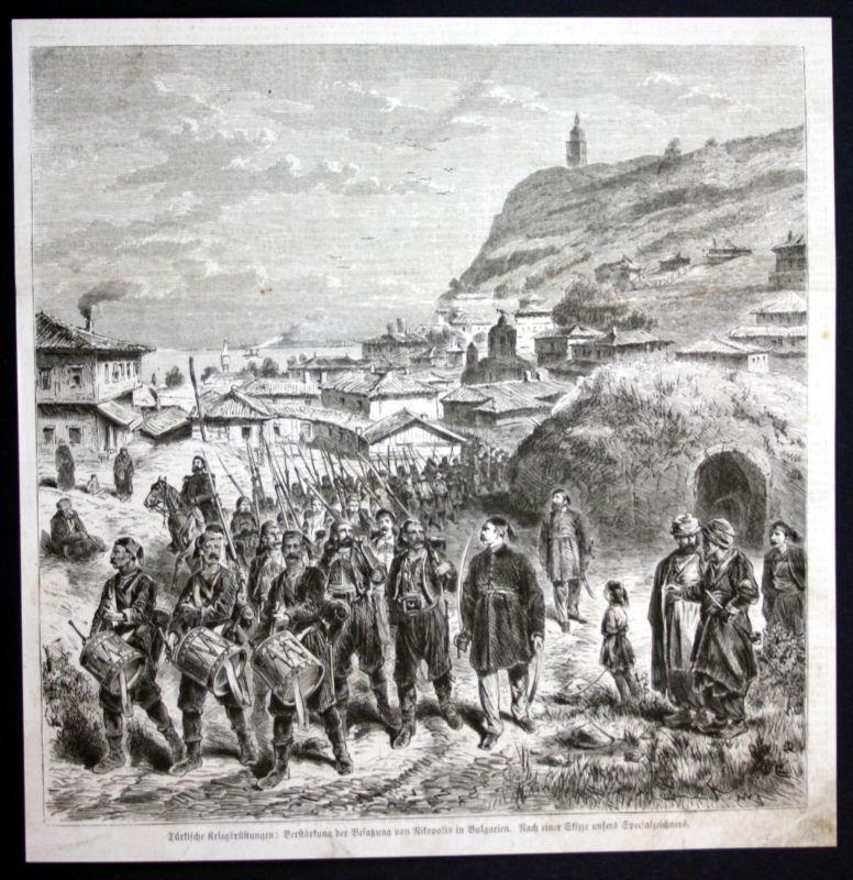 1877 Nikopol Bulgarien Bulgaria Soldaten soldiers Holzstich antique print