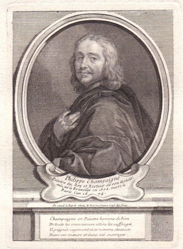 17. Jh. Philippe de Champaigne peintre graveur gravure Portrait antique print