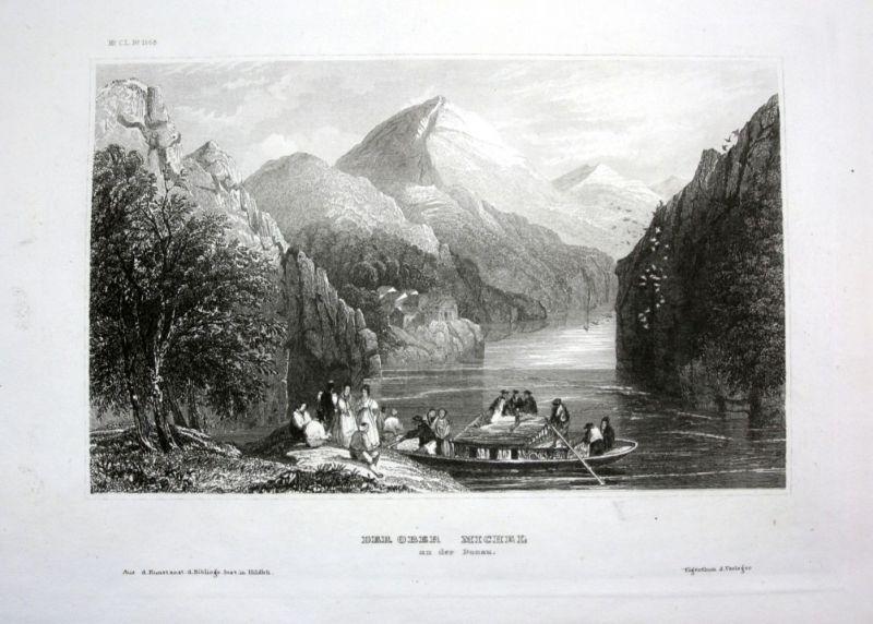 Ca. 1840 Ober Michel Donau Berg Berge mountain Ansicht view Stahlstich engraving