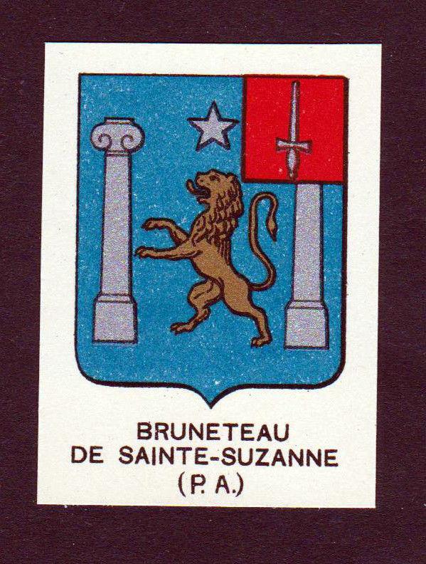 Ca. 1880 Bruneteau de Sainte-Suzanne Wappen Adel coat of arms heraldry an 146236