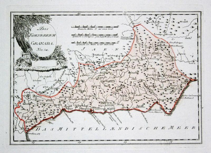 Spanien Spain Portugal Granada Malaga map Karte Reilly engraving Kupferstich