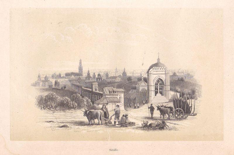 Ca. 1850 Sevilla Andalucia Espana Spain Ansicht view Holzstich antique print