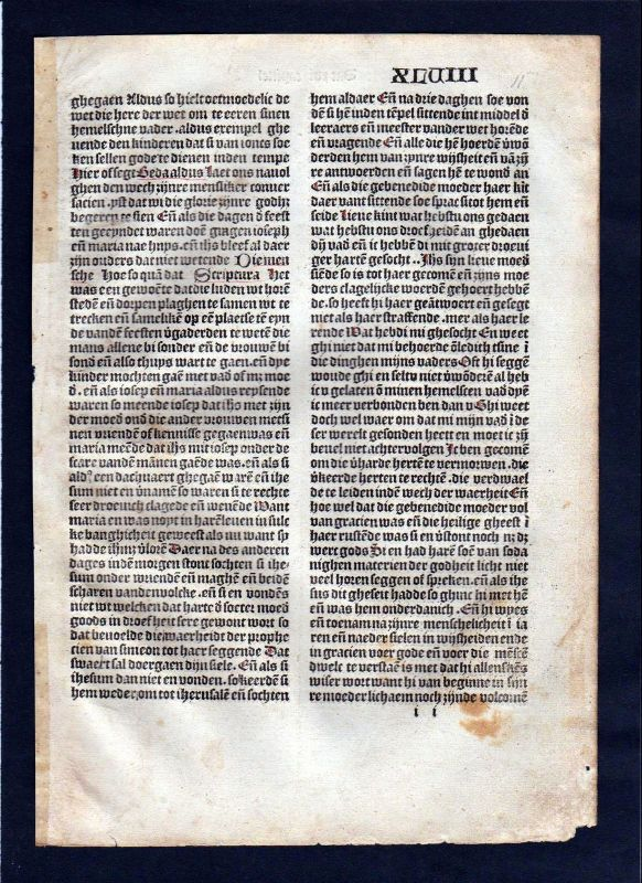 1499 Blatt XLVIII Inkunabel Vita Christi Zwolle incunable Dutch Holland