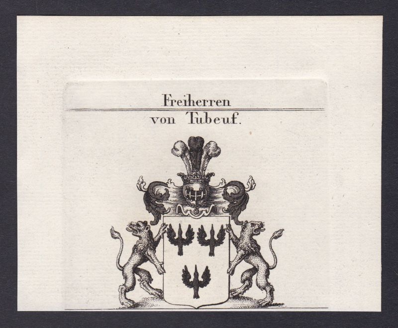 1820 Tubeuf Bayern Wappen Adel coat of arms heraldry Heraldik Kupferstich