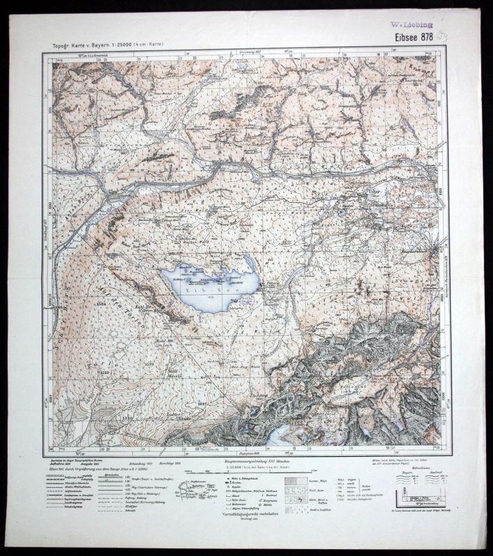 1936 Eibsee Grainau Waxenstein Griesen 1:25000 Karte Meßtischblatt
