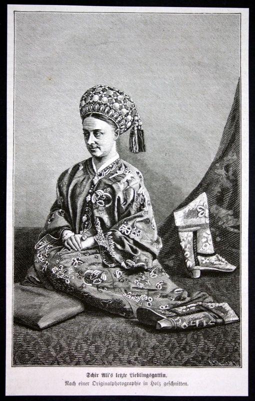 1880 Sher Ali Khan wife Frau Afghanistan Emir Portrait Holzstich antique print