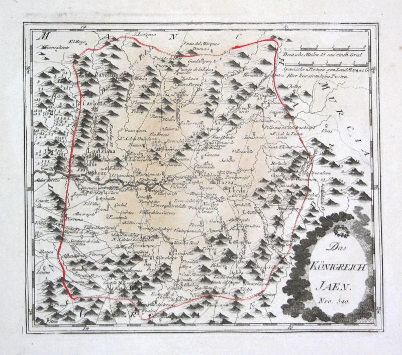 Spanien Spain Portugal Jaén Alcalá la Real map Reilly engraving Kupferstich