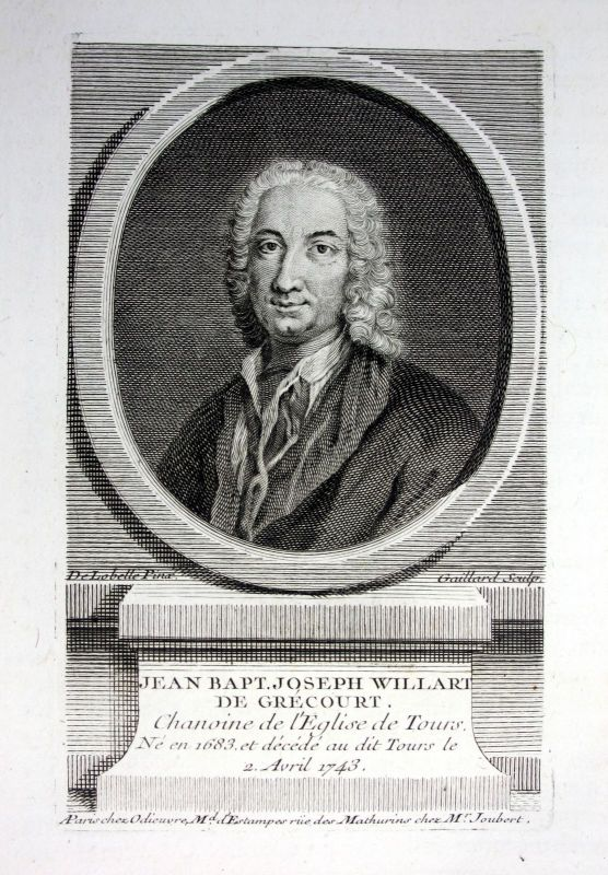 18. Jh. Jean Baptiste de Grecourt poete gravure Kupferstich Portrait engraving