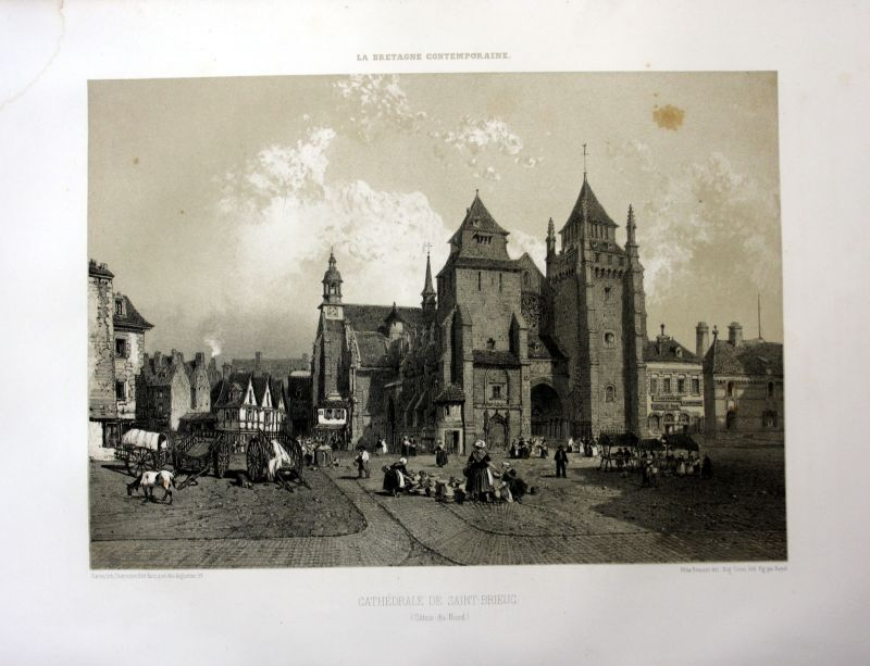 1870 Cathedrale Saint-Etienne Saint-Brieuc Bretagne France estampe Lithographie