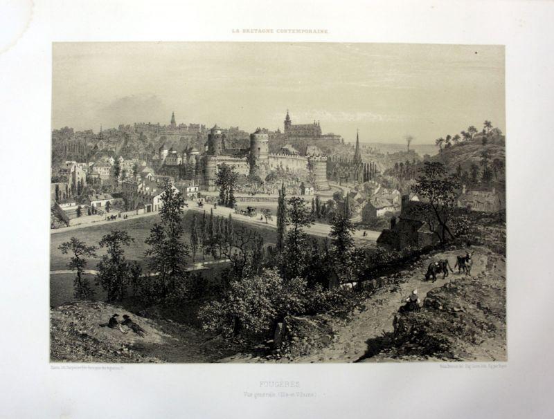 Ca. 1870 Fougeres vue generale Bretagne France estampe Lithographie lithograph