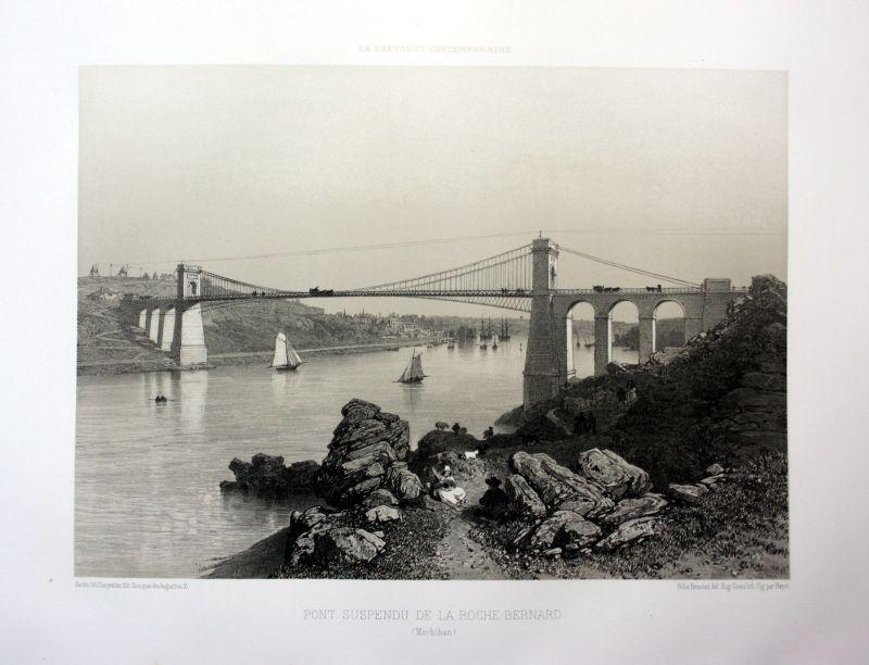Ca 1870 Pont de La Roche-Bernard Bretagne France estampe Lithographie lithograph