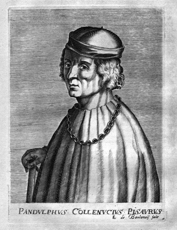 Ca. 1680 Pandolfo Collenuccio poet Dichter Italy Kupferstich Portrait engraving