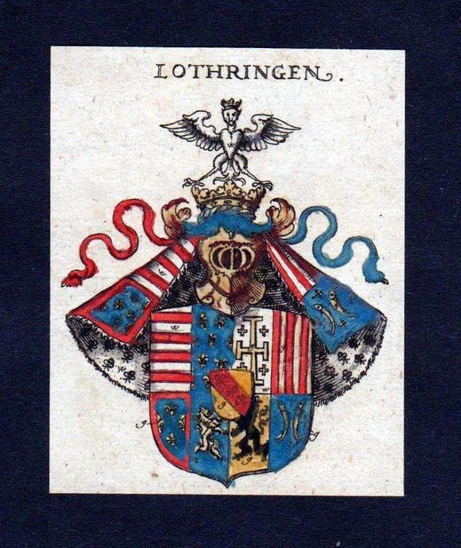 Lothringen Lorraine Wappen Adel coat of arms heraldry Heraldik Kupferstich