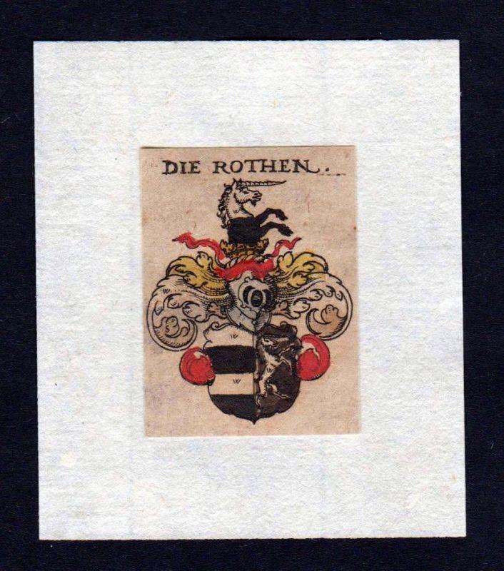 H. von Roth Rothen Wappen coat of arms heraldry Heraldik Kupferstich
