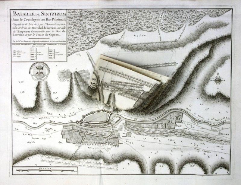 Ca. 1780 Schlacht bei Sinsheim battle Kupferstich Karte map