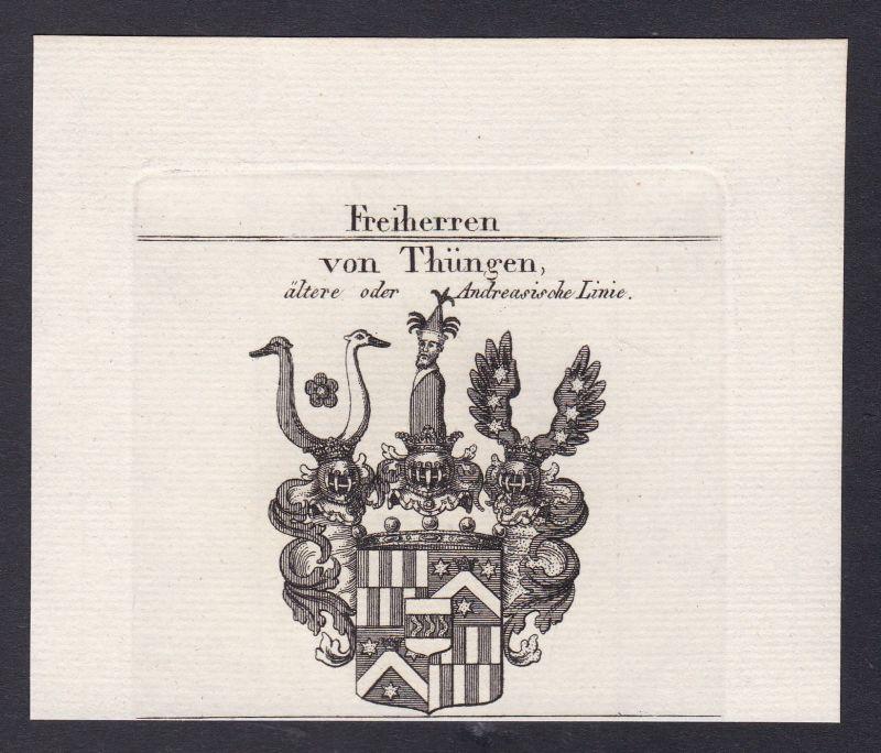 1820 Thüngen Franken Wappen Adel coat of arms heraldry Heraldik Kupferstich