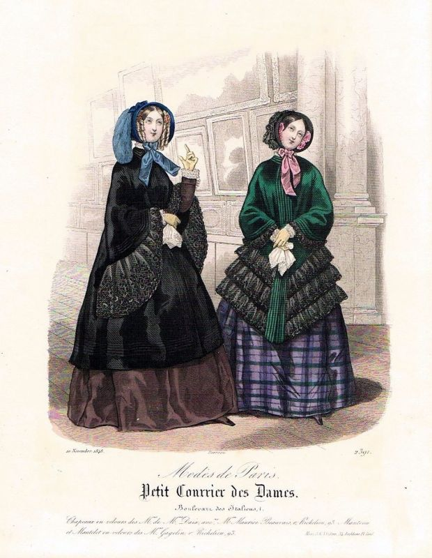 1848 Biedermeier Mode Kupferstich victorian fashion antique print etching  62267