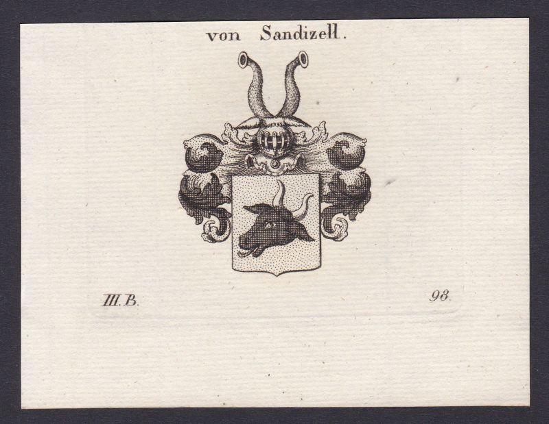 1820 Sandizell Bayern Wappen Adel coat of arms heraldry Heraldik Kupferstich