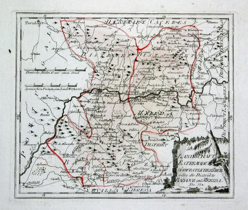 Spanien Spain Portugal Mérida Extremadura map Karte Reilly engraving Kupferstich